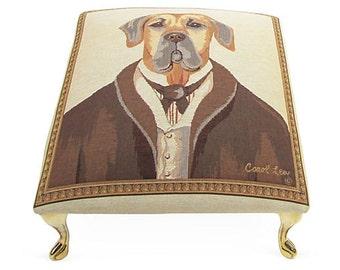 Corona Decor Co. French Woven Gentleman Dog Footstool