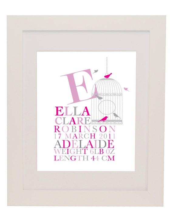 Gorgeous Baby Gifts Australia : Items similar to personalised girl birth print custom
