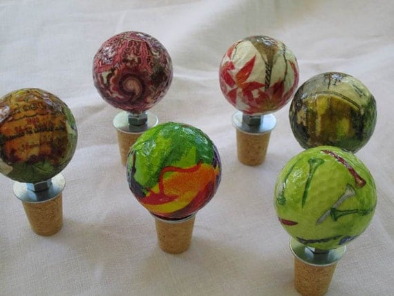 Items Similar To Recycled Golf Ball Wine Stoppers On Etsy