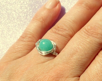 Amazonite wire wrapped ring, Silver amazonite wire wrapped ring, Gemstone ring, Blue green stone ring