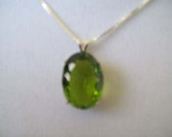 Created Peridot Pendant in Sterling Silver, Comes with chain