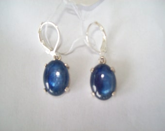 Genuine Kyanite Earrings in 925 Sterling Silver 16x12mm