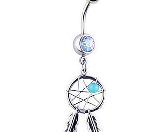 Belly Button Ring DREAM CATCHER Aqua Gems 14 gauge Stainless Steel Navel Piercing Body Jewelry