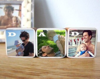 Father's Day Personalized DAD Photo Wood Blocks, Photo Letter Blocks, Gift for dad, Set of 3