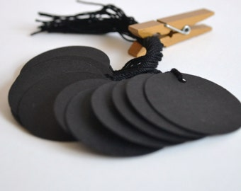 black circle tags with string, black price tags, circle hang tags, black favor tags, gift tags-  15 tags