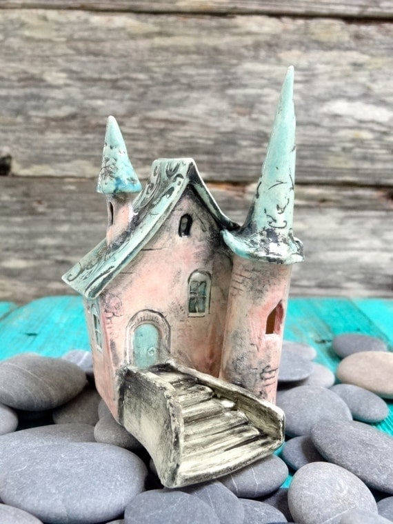 Miniature fairy castle- OOAK ceramic porcelain mini house sculpture