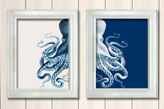 Blue And Cream Octopus Prints | Handmade Decor Ideas For Decorating A Beach House