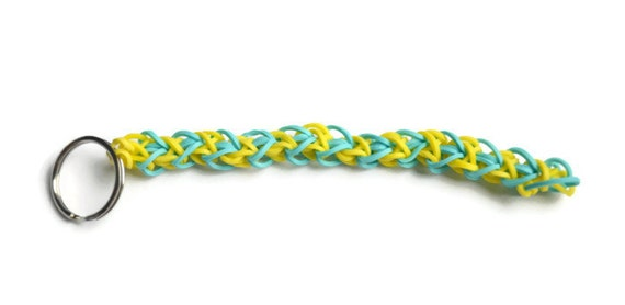 Stretchy Wedding Bands >> Items similar to Bright and Stretchy Rainbow Loom Keychain with Light Blue and Yellow Rubber ...