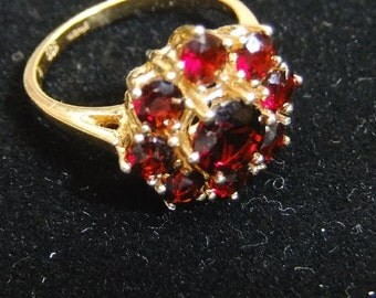 Vintage Garnet Ring January Birthstone 14kt Gold Ring Vintage January 14kt Gold Garnet Ring