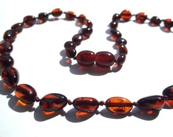 Baltic Amber  Teething Necklace for Baby, Children.  Cherry Color .