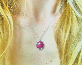 Necklace sterling silver layered ruby pendant on a sterling silver chain-Sterling silver necklace- Gemstone necklace