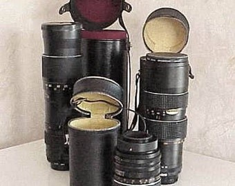 3 Vintage CAMERA LENSES New Condition with Cases