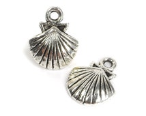 10 Small Silver Shell Charms, Clam Shell, Beach Charms, Nautical 13mm x 16mm C57