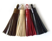 Leather Knacks - Leather Tassel Keychain, Gift for women, Handmade, Brown, Beige, Red, Black.
