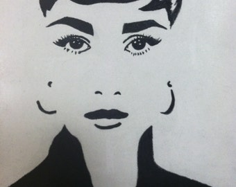 Audrey Hepburn Charcoal Drawing Print from Original Breakfast at Tiffany's Holly Golightly Sabrina