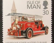 Fire Engine With Merryweather Hatfield Pump -Handmade Framed Postage Stamp Art 13492