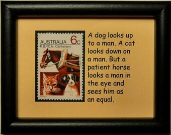 Horse, Cat & Dog Australia -Handmade Framed Postage Stamp Art 0225W