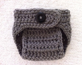 Crochet Baby Boy/Girl Grey Diaper Cover PhotoProp/Made to Order