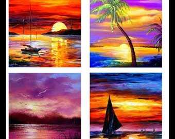 Digital Download Sheets - Collage Printable Sheets - Collage Images - Sunsets - Beautiful Sunsets - Scrabble Tiles - Jewelry - DDP125 -