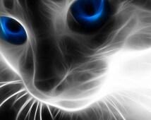 Abstract Manipulation Xray Blue Eyes Cat Mouse Pad Mat Mousepad Beautiful Print Placemat