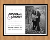 Save The Date Printable with Picture Black and White with One Color