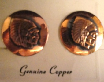 Genuine Copper Indian Head Clip Earrings