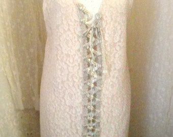 Long champagne beige lace vest with front satin lacing ties