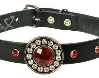 "Lederhalsband/Choker ""STRASS CONCHO RUND"", Leder, leather, Halsband, black, Strassniete, rhinestone, Niete, rivet, rot, red, weiß, white"