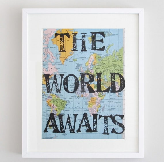 The World Awaits Travel Theme Nursery Vintage Map Unique