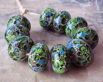 Handmade Lampwork Glass Beads  (2 pcs) - Silvered Ivory, Turquoise, Green, 15-16 mm x 10-11 mm. Organic Lampwork Bead Set.