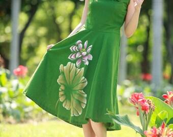 maxi dress summer dress plus size dress maxi dresses summer dresses hand painted dress womens summer dresses unique dress green womens dress