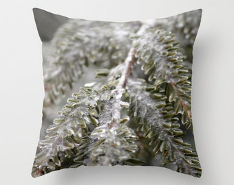 Ice covered Pines, Pillow Cover, 16x16,18x18,20x20,home decoration,winter decor,interior design,muted colors, trees,winter,nature,snow storm