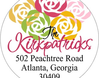 Return Address Labels Whimsical Roses Personalized Round Stickers Gift tags Party Favors Business Address Labels