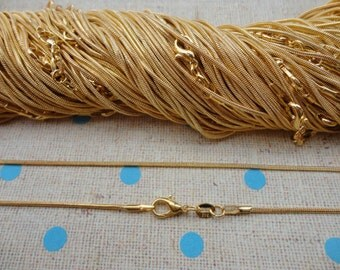 20PCS 20 inches Shiny Gold Plated Metal Snake Necklace Chain 1.2MM--MN15