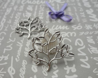 50pcs Antique Silver Base Metal Charms-Tree Leaf  charms pendant 32X30mm--CP91