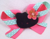 Pink and Aqua Hawaiian  Hello Kitty Rockabilly Pin Up Ribbon Hair Bow