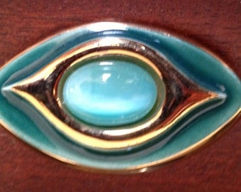 Gold and Aqua Eye Brooch
