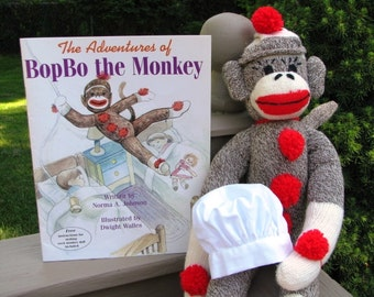 Sock Monkey Doll with Book and Bakers Hat Gift Set Handmade Brown BopBo the Monkey