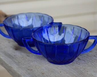 Set of 2, Vintage Cobalt Blue Glass Bowls