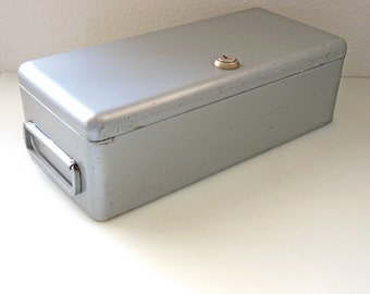 Erie Art Metal Co. Steel Box Locking with Handle Metal Storage Box Container Metal File Art supply Flip top Box silver Metal Industrial Box
