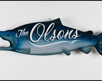 Hand Lettered Personalized to Include Last Name King Salmon Sign