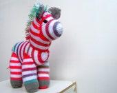 Rainbow Knit Zebra Toy, Iris. Hand-knit stuffed animal / knit toy