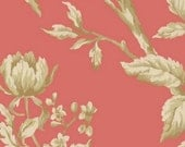 Coral Pink Rose Vine Modern Toile - Garden Flower, Victorian, Floral, Leaf - Wallpaper By The Yard  - FN3695