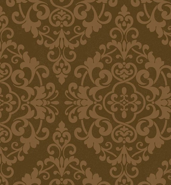 Large Lacy Gold Metallic Damask on Brown Victorian