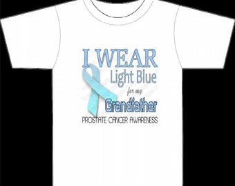Prostate Cancer Awareness Ribbon Logo Digital Image Reads I Wear Light Blue for My Grandfather Instant Dowloads transfer small commercial