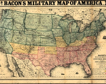 Digital Collage Sheet for Scrapbooking 1862 Old Map of United States for Instant Download Military Map of Forts & Fortification