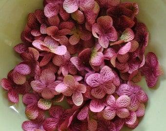 Silk Flowers - Artificial Flowers - 40 Hydrangea Flower Petals - Mauve Pink - DIY Headbands