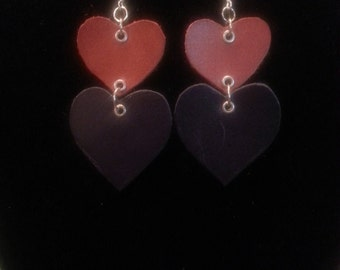 PERFECT PAIR- brown and navy leather 2 tier earrings (heart shaped)