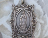 French antique medal Virgin Mary