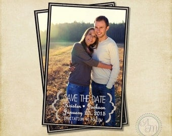 Save The Date- Gray Large Photo, Modern Save The Date, Picture, Vintage Save Date, Rustic Save Date, Rustic Wedding (Printable Download)